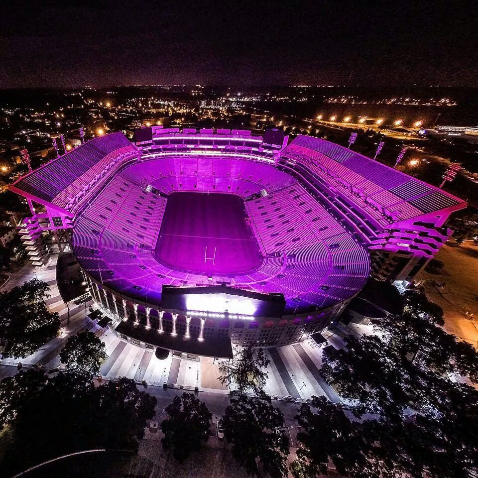 Geaux Tigers Tiger Stadium Bathed In Purple Lsu Lsu Tigers Football Lsu Tiger Stadium