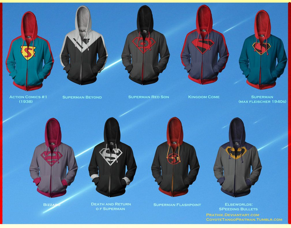 6e67dbf7dbe Superman Hoodies! by prathik on deviantART Ropa De Superhéroes, Cosas  Frikis, Universo Dc