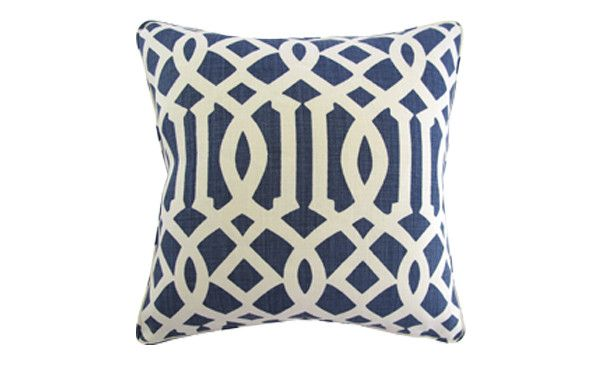 Navy Trellis Pillow   Nest and Burrow