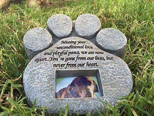 Paw Print Pet Memorial Stone Features A Photo Frame And Sympathy Poem Made Of Weatherproof Resin Ind Pet Memorial Stones Pet Memorials Custom Pet Memorials