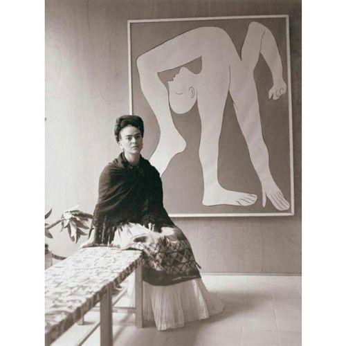 Frida Kahlo at the Pablo Picasso exhibition, Mexico City's Museo de Arte Moderno in 1944.