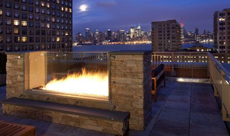 Toll Brothers Open Air Rooftop Fireplace at 1450 Washington in ...
