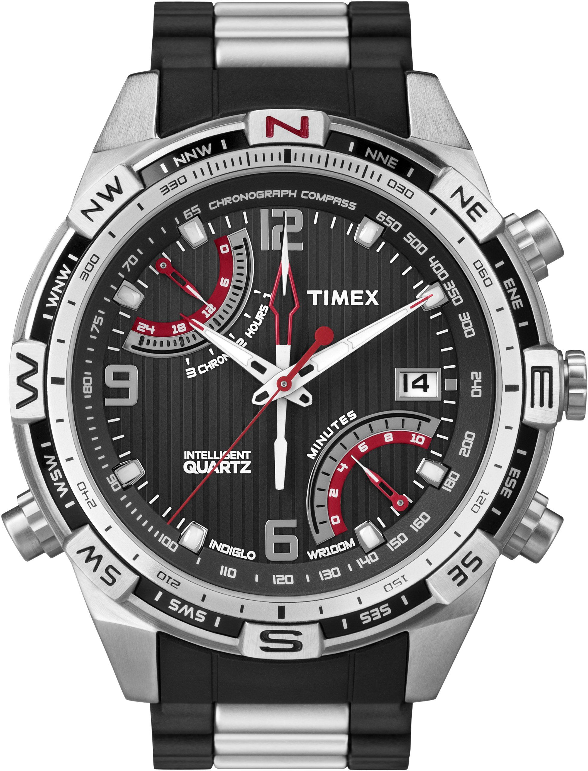 4ec5b2bd828 Timex Men s T49868 Intelligent Quartz Fly Back Chrono Compass Stainless  Steel Bracelet Watch Bijuterias