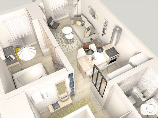 A lu0027origine, cet appartement de 35 m² disposait du0027une cuisine - plan salon cuisine sejour salle manger