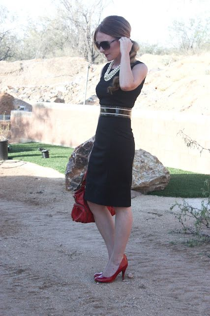 Little Black Dress Pearls Belt Red Bag And Shoes Little Black Dress Black Fashion Black Dress