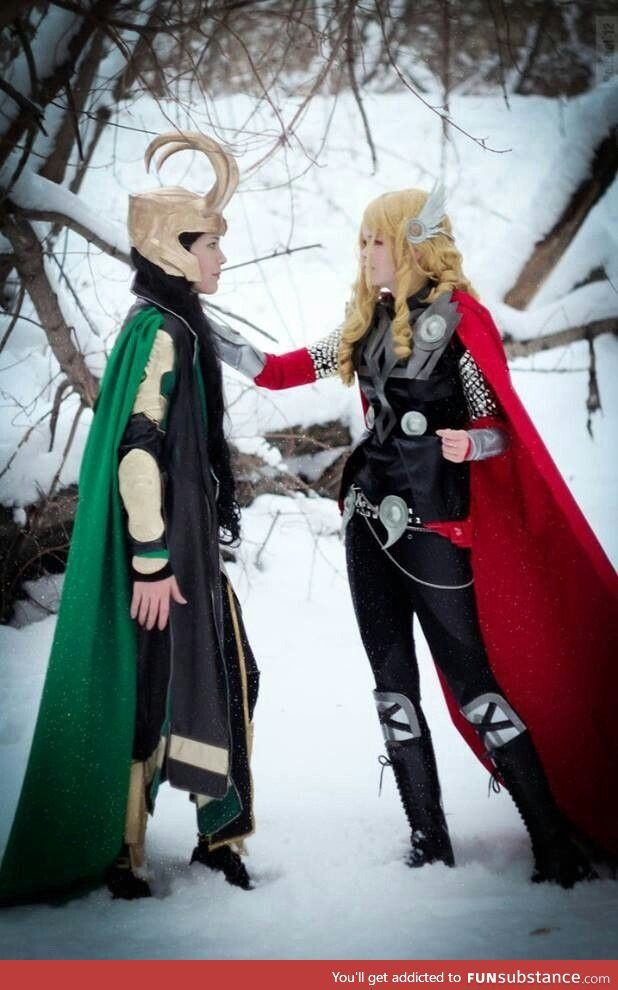 Female Thor and Loki cosplay