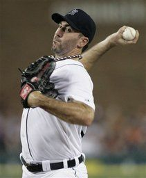 Detroit Tigers starter Justin Verlander pitches against the Minnesota Twins in the second inning of a baseball game on Wednesday, July 4, 2012, in Detroit. (AP Photo/Duane Burleson)