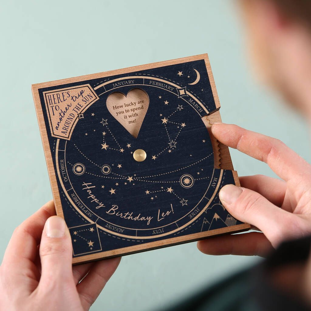 We've taken inspiration from the stars to create a unique keepsake! Remind someone special of your favourite memories together. Personalise your planisphere with 8 loving sentiments, which are revealed when spun and appear in the heart shaped hole. The inner wooden wheel is engraved and personalised with special memories, fond recollections or your favourite times spent together in the last year or maybe longer! The perfect gift for a birthday to reminisce about the good old days and a keepsake