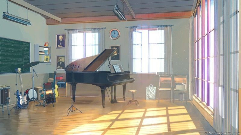 One Of The Music Rooms Anime Classroom Anime Music Anime Background