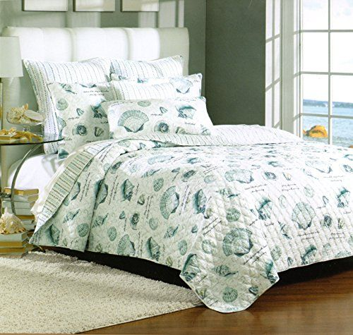 High Quality Nicole Miller Cotton 2 Piece Twin Quilt Set Reversible Marine, Seashells,  Beach Themed,