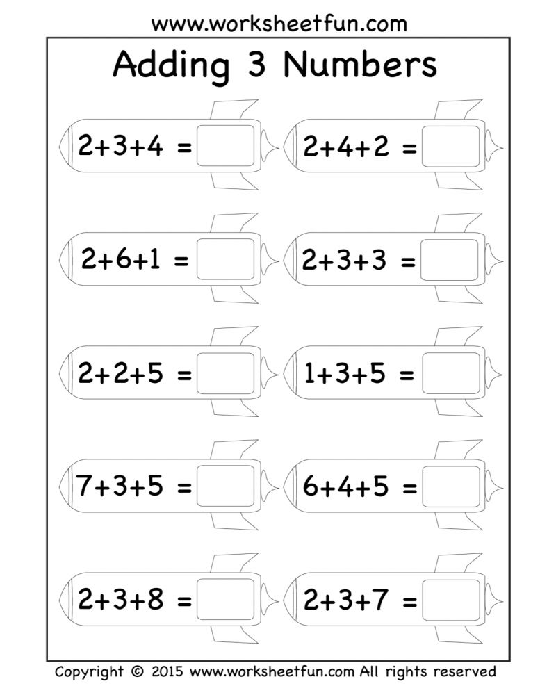3 Addend Addition Worksheets First Grade Math Worksheets Math Addition Worksheets First Grade Worksheets