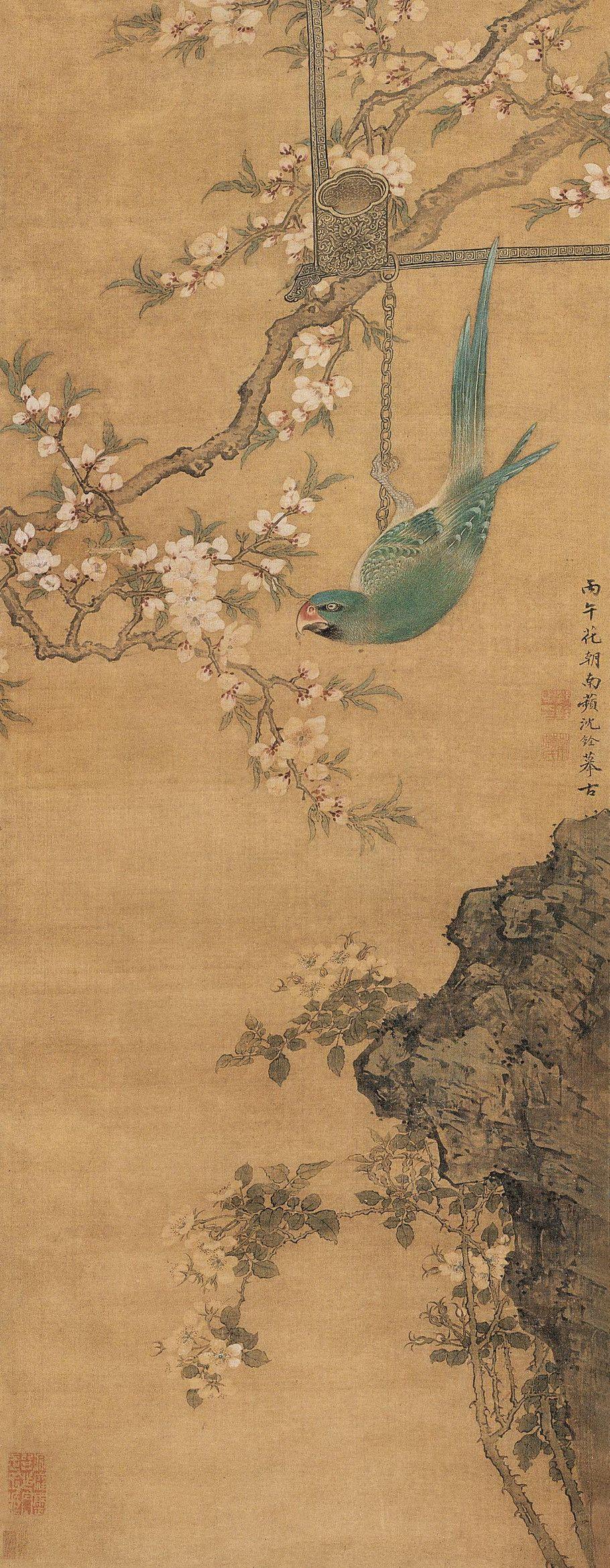 Shen Quan (沈銓) , 桃红梨白鹦鹉绿