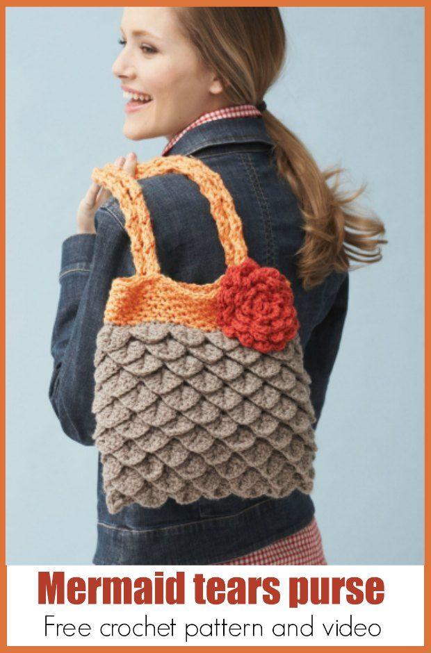 Crochet Mermaid Tears Purse Free Pattern And Video   Bikini de ...