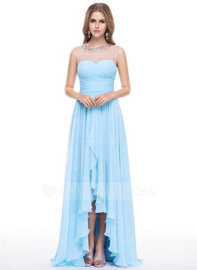 [US$ 139.99] Empire Scoop Neck Asymmetrical Chiffon Evening Dress With Beading Sequins Cascading Ruffles (017056146)