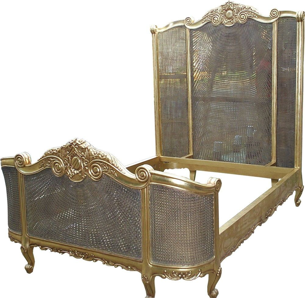 Solid Mahogany Bedroom Furniture 5 King Size French Curved Rattan Bed High Headboard Antique Gold