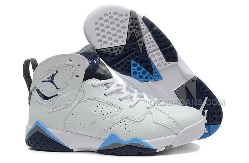 31c53376dc9605 Cheap GS Jordan 7 French Blue-White French Blue-Flint Grey