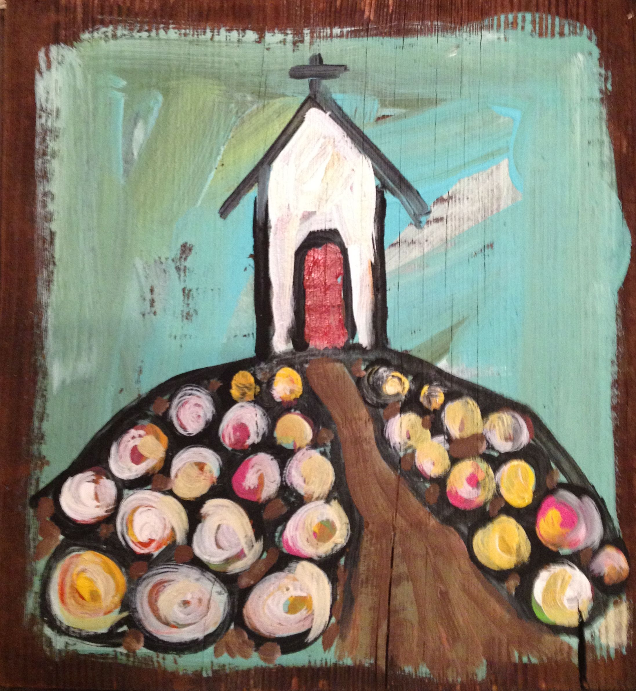 old country church painted on reclaimed wood by ginny elder. www.paintedpapers.net
