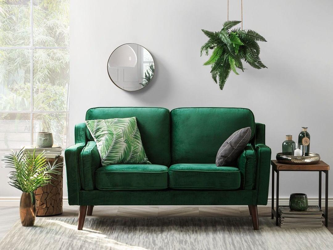 2 Seater Velvet Sofa Green Lokka In 2020 Loveseat Living Room
