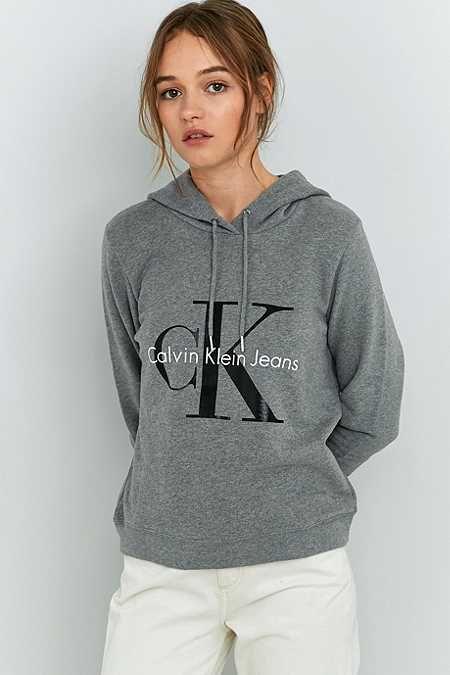 a58372ff1d3a2 Calvin Klein Grey Logo Hoodie