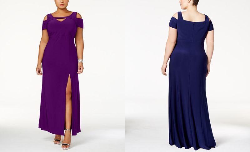 f02a74084e9 Nightway Plus Size Cold-Shoulder Keyhole Gown - Dresses - Plus Sizes -  Macy s
