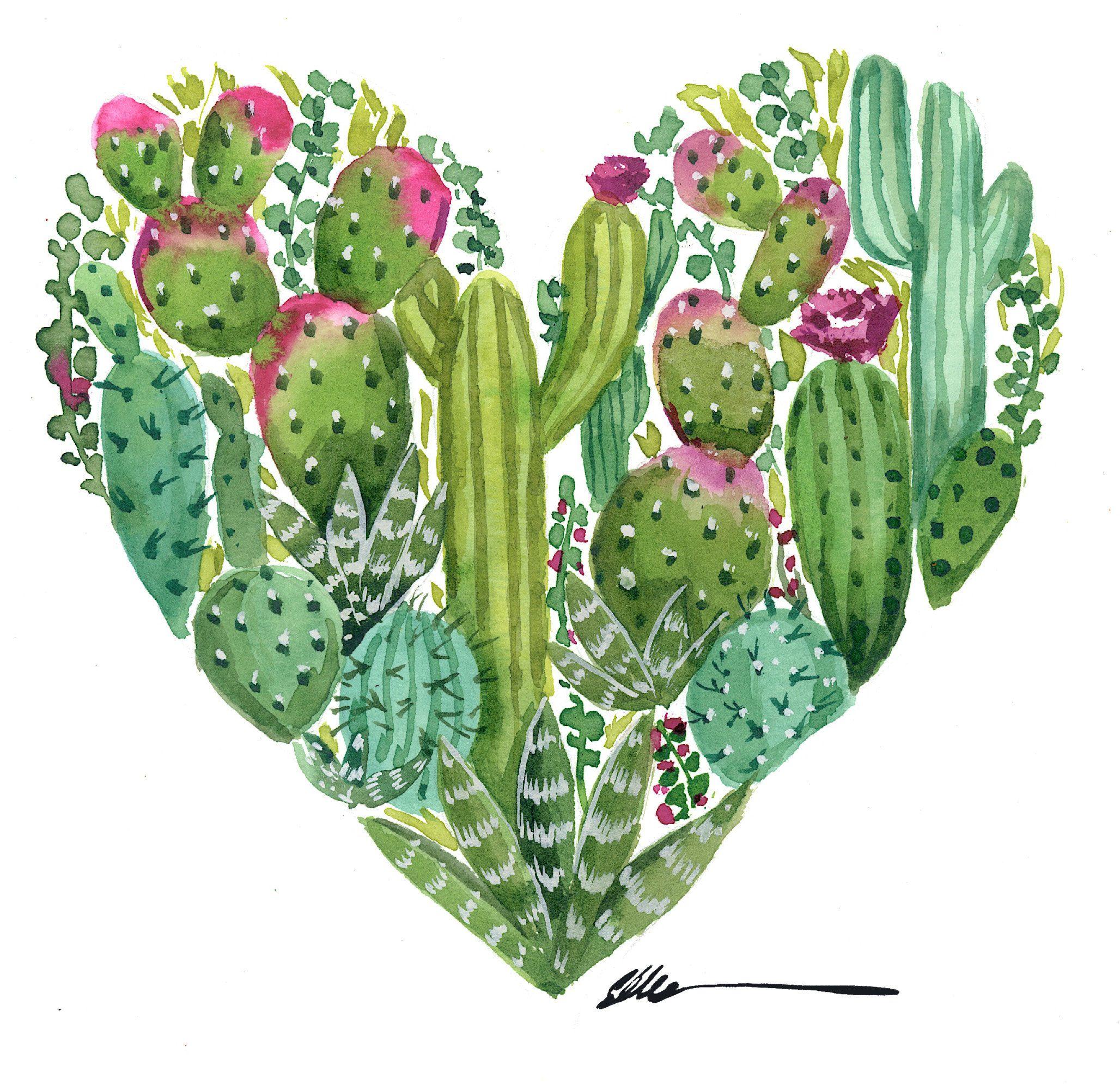Cactus Heart Original Watercolor Painting Ellencrimitrent Cactus Art Cactus Paintings Cactus Drawing