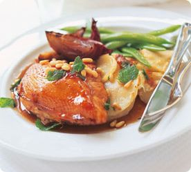 Balsamic Chicken Breasts with Crispy Mint & Pine Nuts by Annabel Langbein
