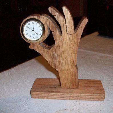 Hand miniature wooden desk clock by Fine Crafts on Opensky