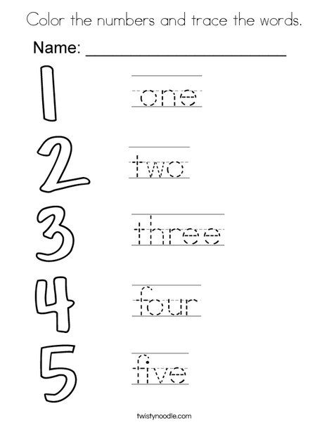 Color The Numbers And Trace The Words Coloring Page Alphabet Worksheets Preschool Learning Worksheets English Worksheets For Kids