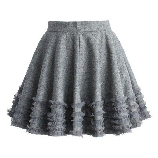 Ruffles Wool Blend Skater Skirt in Grey ❤ liked on Polyvore featuring skirts, gray skirt, gray skater skirt, travel skirt, flared skirt and circle skirt