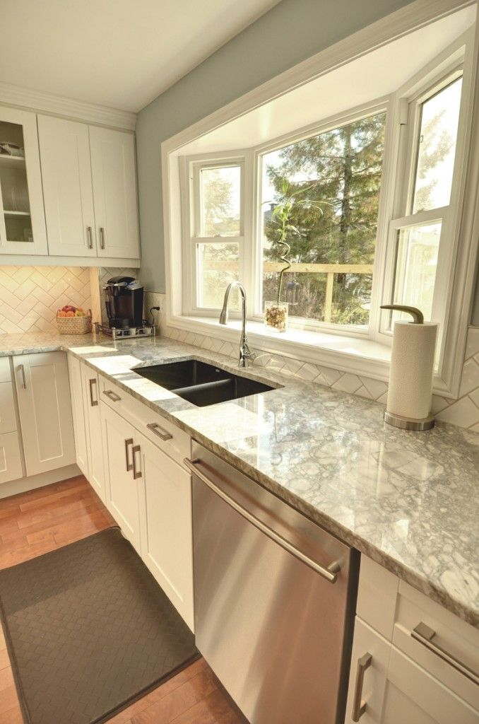 standard bay window with double sink- love the counter tops too ...
