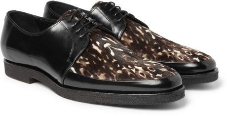 1d44f7e7d5b9 Men s Black Printed Pony-skin and Leather Derby Shoes