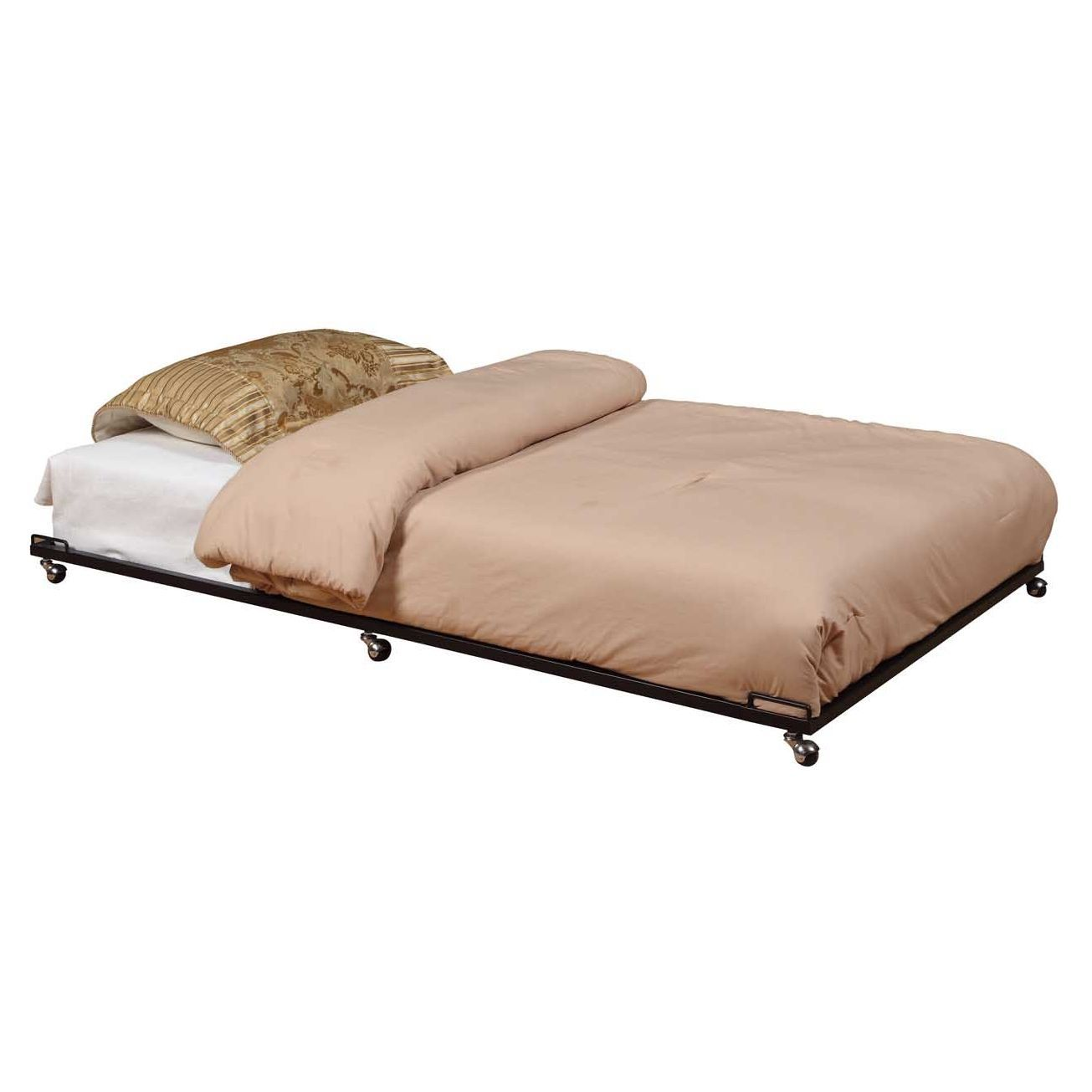 k b black trundle bed easy storage black metal and construction