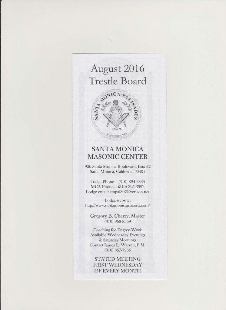SANTA MONICA MASONIC CENTER TRESTLE BOARD 2016 | Masonic Light ...