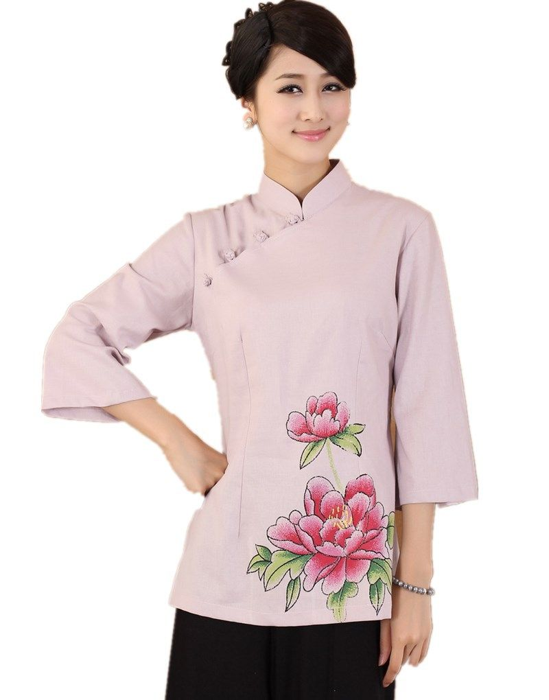 awesome Free of charge Delivery Brand new Appearance mandarin training collar conventional Chinese language covers for ladies Bed linen Best blossom printing chinese language Blouses 3 colour 2381