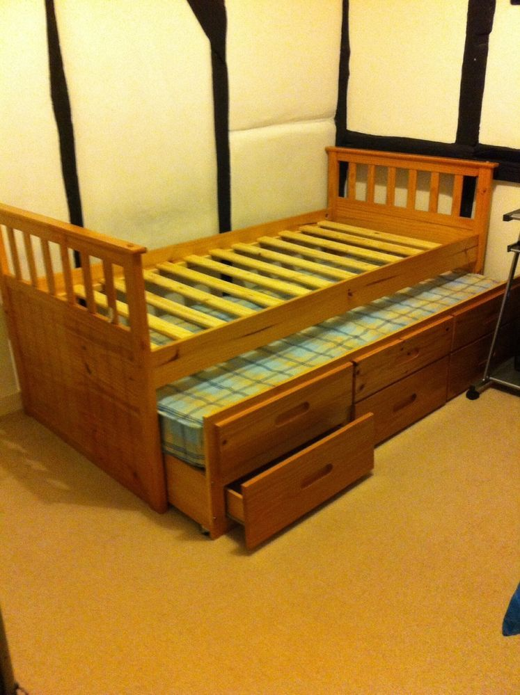 Single Pine Bed with storage drawers, guest bed underneath