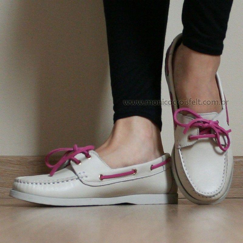b443ec7cd3a Sapato Mocassim Dockside Feminino Conforto Drive Off White Detalhe Rosa  Couro Legítimo Alto Luxo #delicado #romantico #estilo