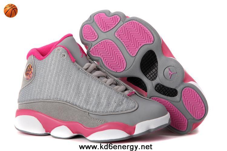 gray pink white 2013 Women Air Jordans 13 For Sale