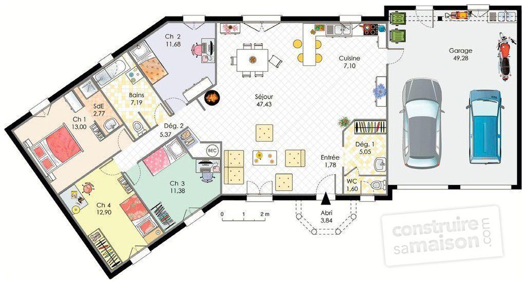 plan gratuit maison plain pied 4 chambres en l 1 Plan Gratuit Maison - plan de maison plein pied gratuit