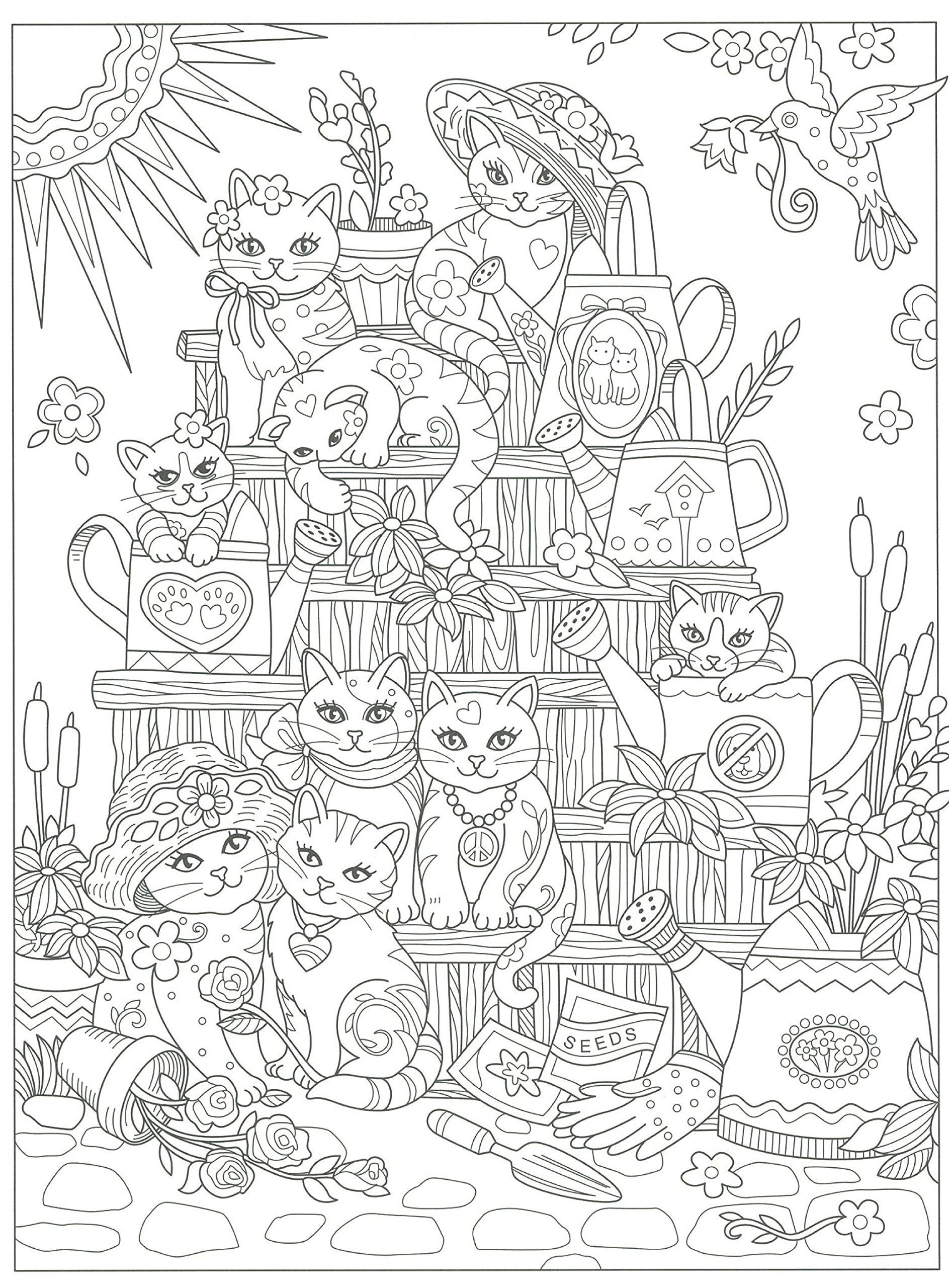 Cats galore coloring page Coloring