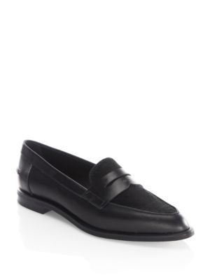 TOD'S Real Calf Fur Pointy Penny Loafer. #tods #shoes #