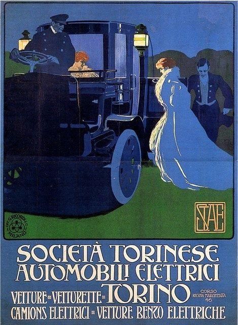 """""""Società Torinese Automobili Elettrici"""", circa 1905. Marcello Dudovich. Litografia, 198 x 144 cm"""