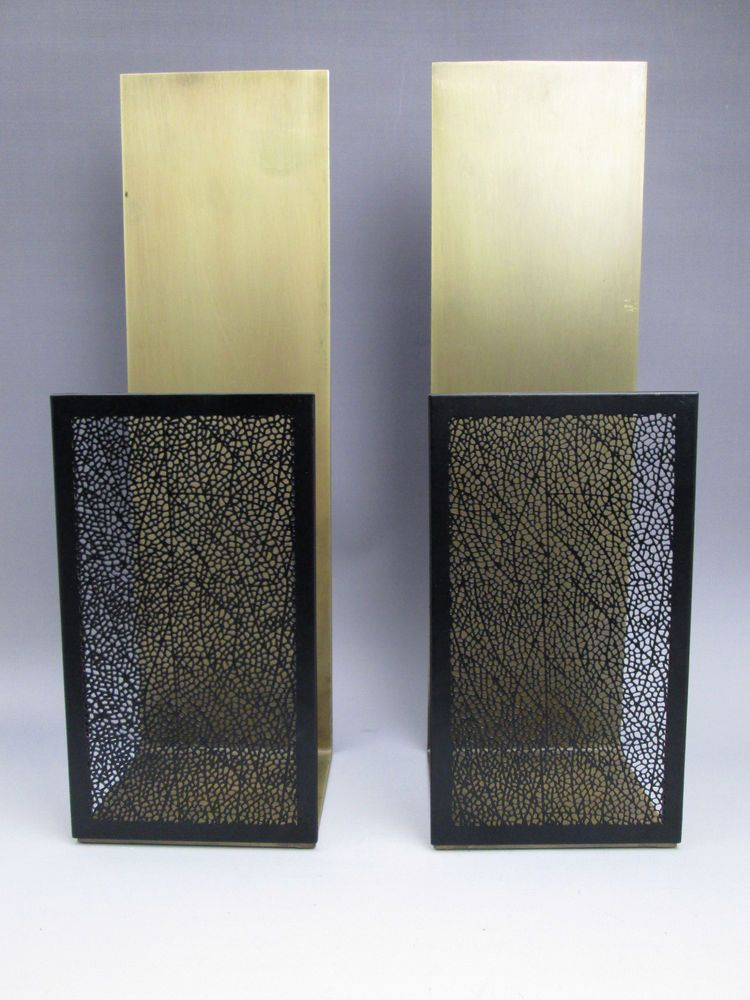 Pair Crate And Barrel Ness Candle Sconces Antiqued Brass