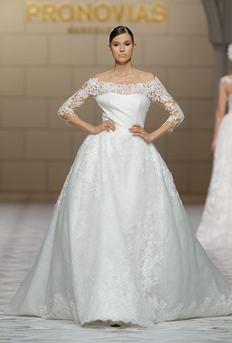 Pronovias - Fall 2015 - 3/4 Sleeve Off The Shoulder Lace Ballgown ...