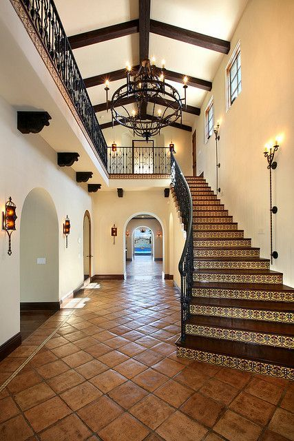 Love the lights going up the wall upstairs pinterest for Hacienda style lighting