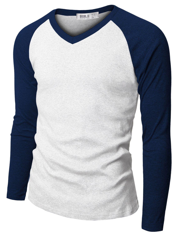 c693ecd635186 Doublju Mens Raglan V-Neck T-shirts BLUE (US-M)  the perfect raglan. It s a  bit long