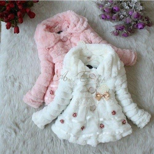 Winter Girls Baby Faux Fur Warm Fleece Jacket Pearl Coat Snowsuit Outwear 2T-5T