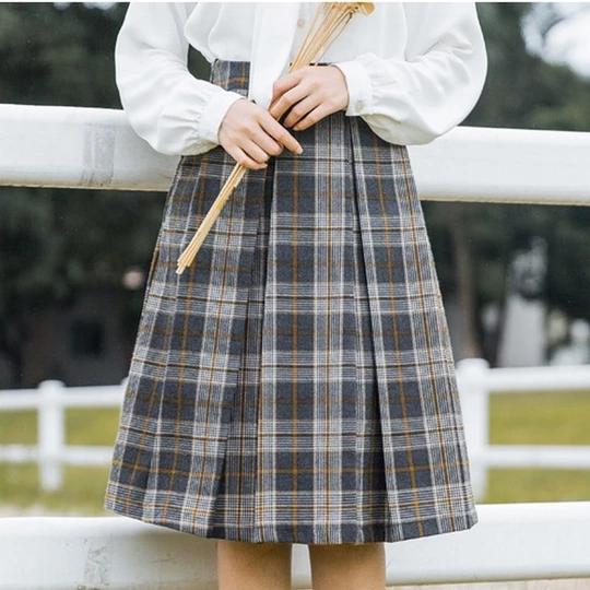 Women Plaid A-Line Skirt All Match Preppy Style Jupe Vintage Skirts Empire Knee-Length Loose Saias Feminimas 2018 Hot