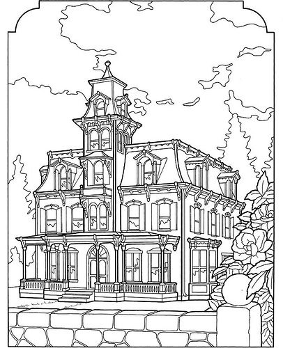 Victorian house coloring page az coloring pages