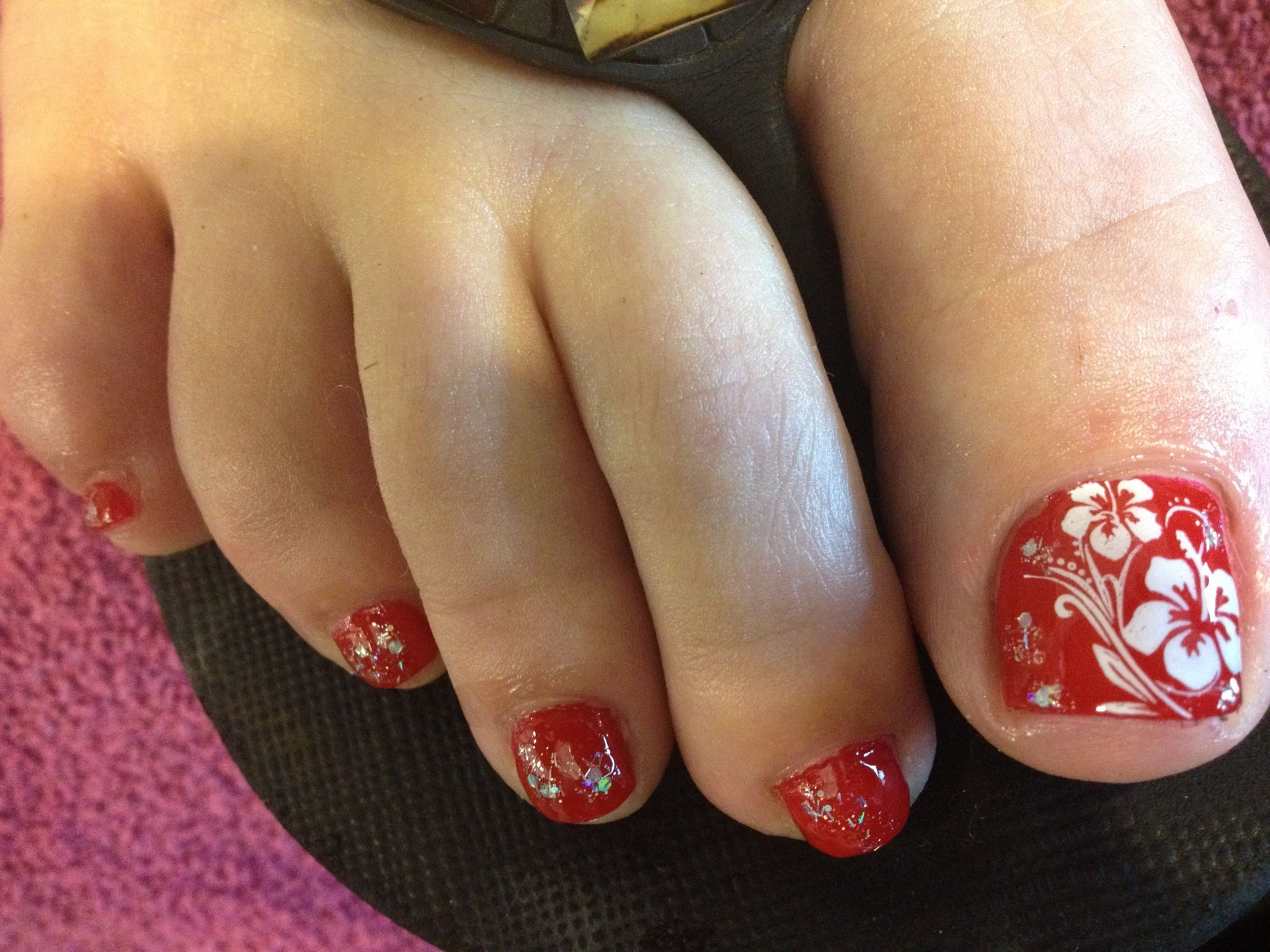 Pretty Pedicure Red Polish With White Hibiscus Flowers I Love This