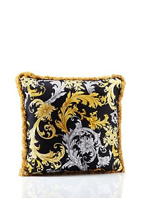 Cuscini Versace.Versace Acanthus Bicolor Silk Cushion Cuscini Bicolore Versace